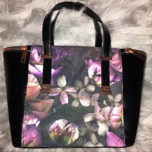 Floral Adjustable Handle Large Leather Tote Bag